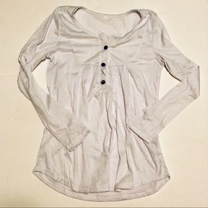 White Henley Peasant Top